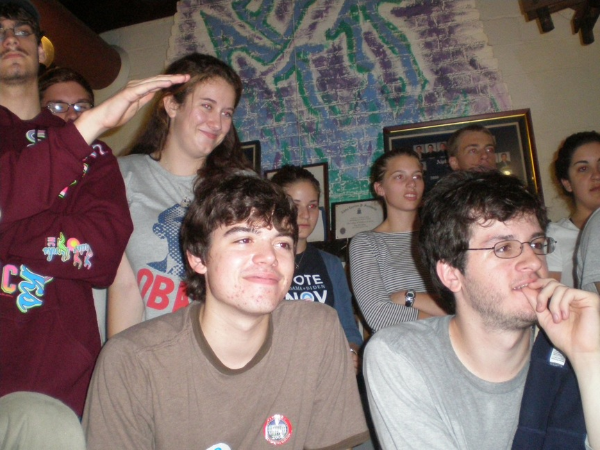 The Young Democrats watch Barack Obama's acceptance speech on election night.